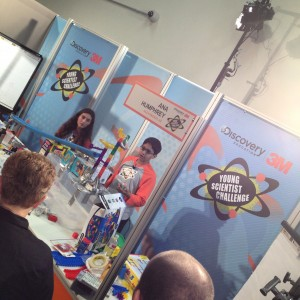 Two of the Young Scientist Challenge finalists talk about their Rube Goldberg machine.