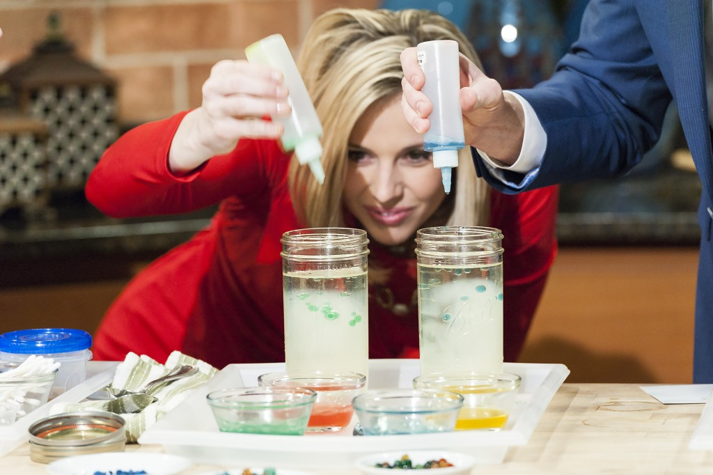 Lindsey Brown and Steve Patterson making orbs on Twin Cities Live (photo by Glenn Griffin)