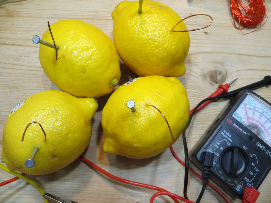 Lemons with zinc and copper electrodes